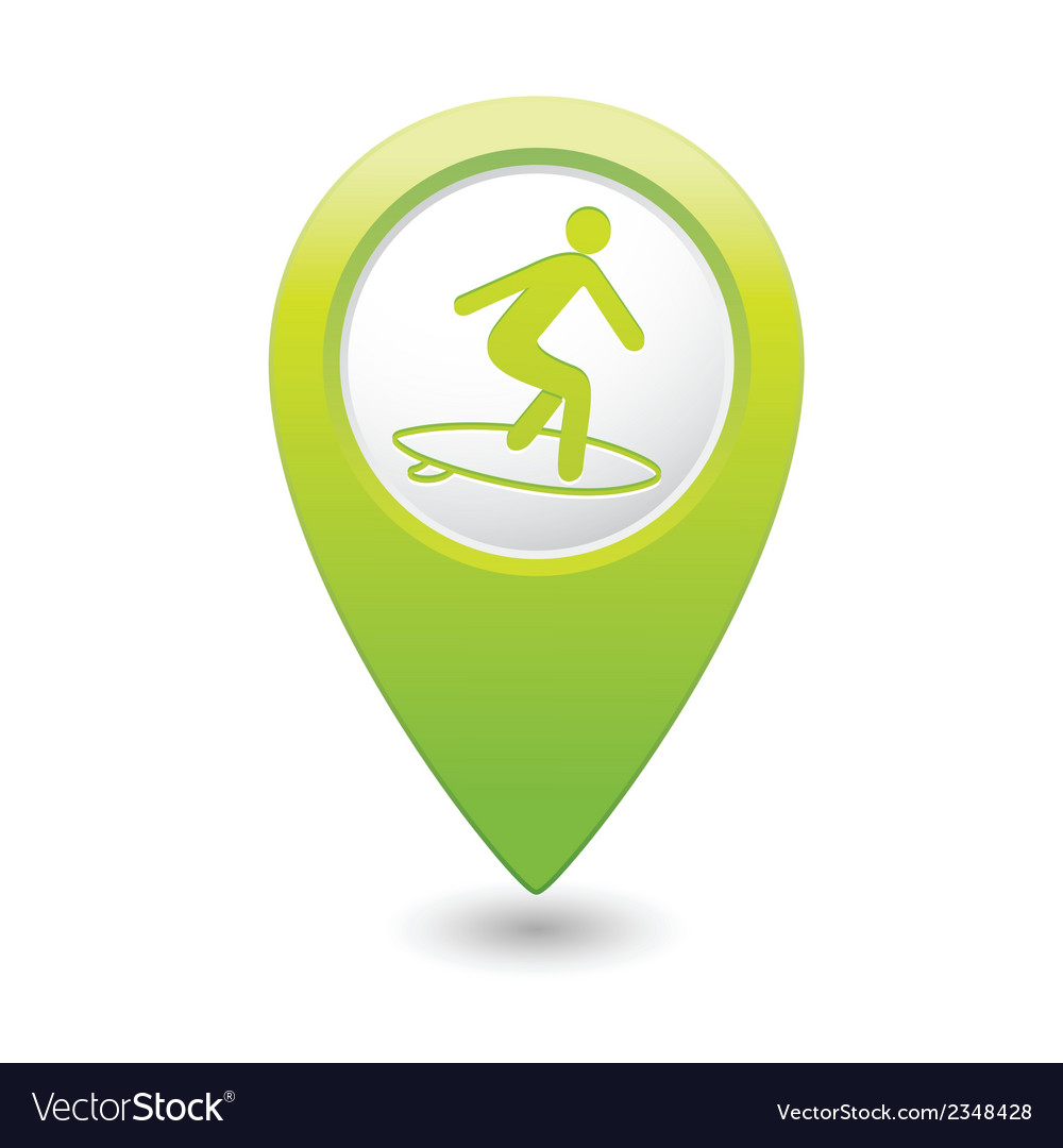 Surfing icon green map pointer vector | Price: 1 Credit (USD $1)