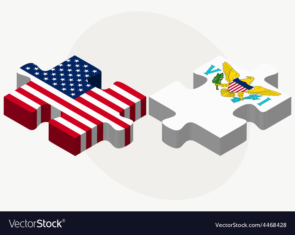 Usa and united states virgin islands flags in vector | Price: 1 Credit (USD $1)