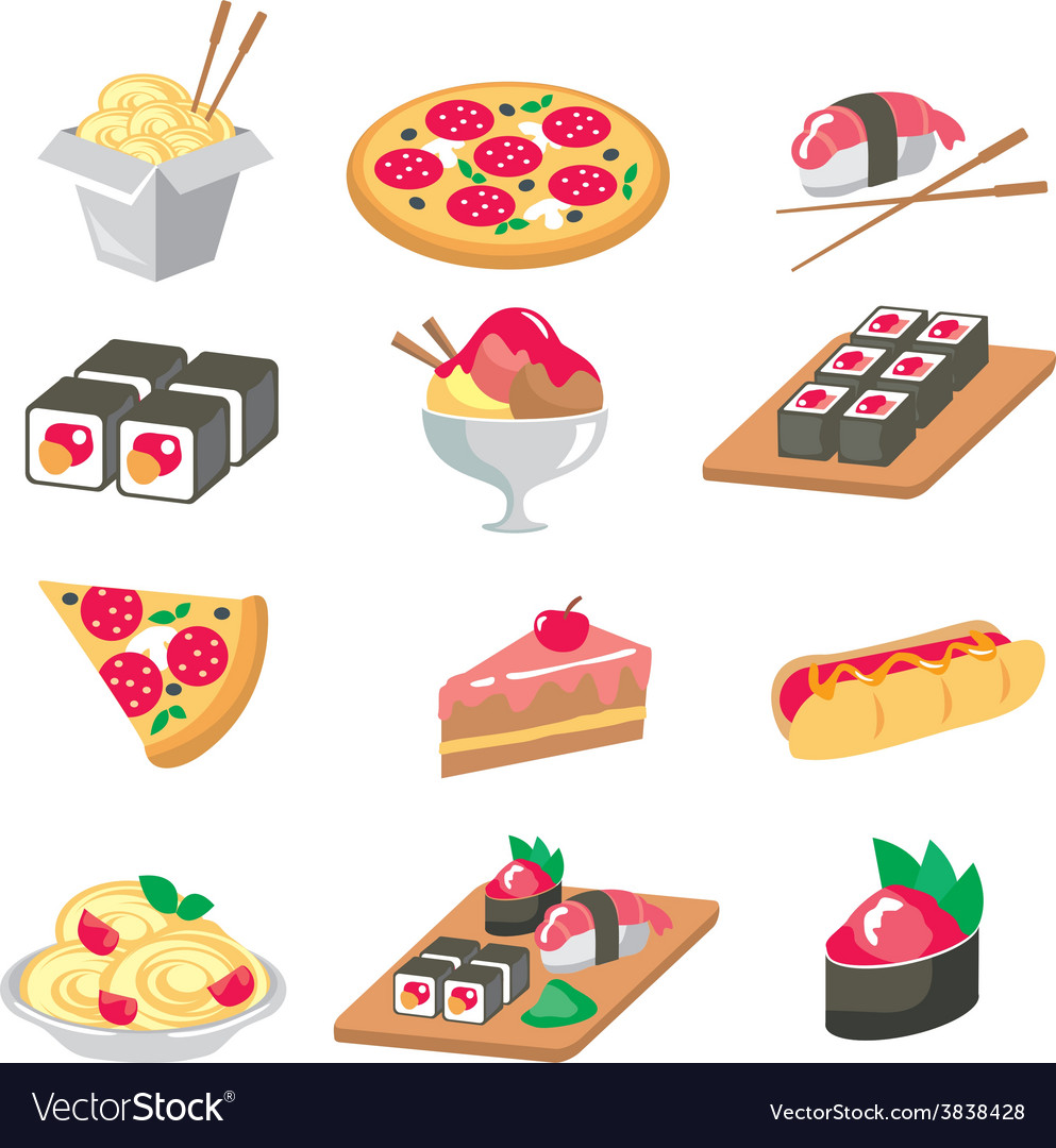 Various food icons set - fruit vegetables meat vector | Price: 1 Credit (USD $1)