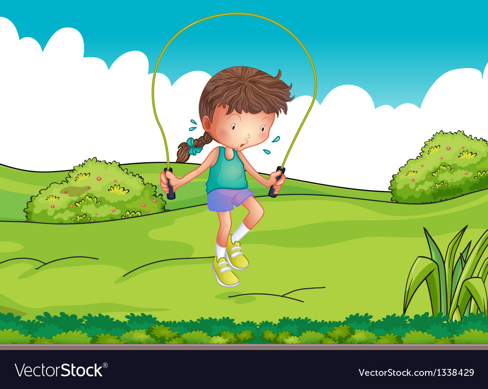 A girl playing jumping rope at the top of the hill vector | Price: 1 Credit (USD $1)