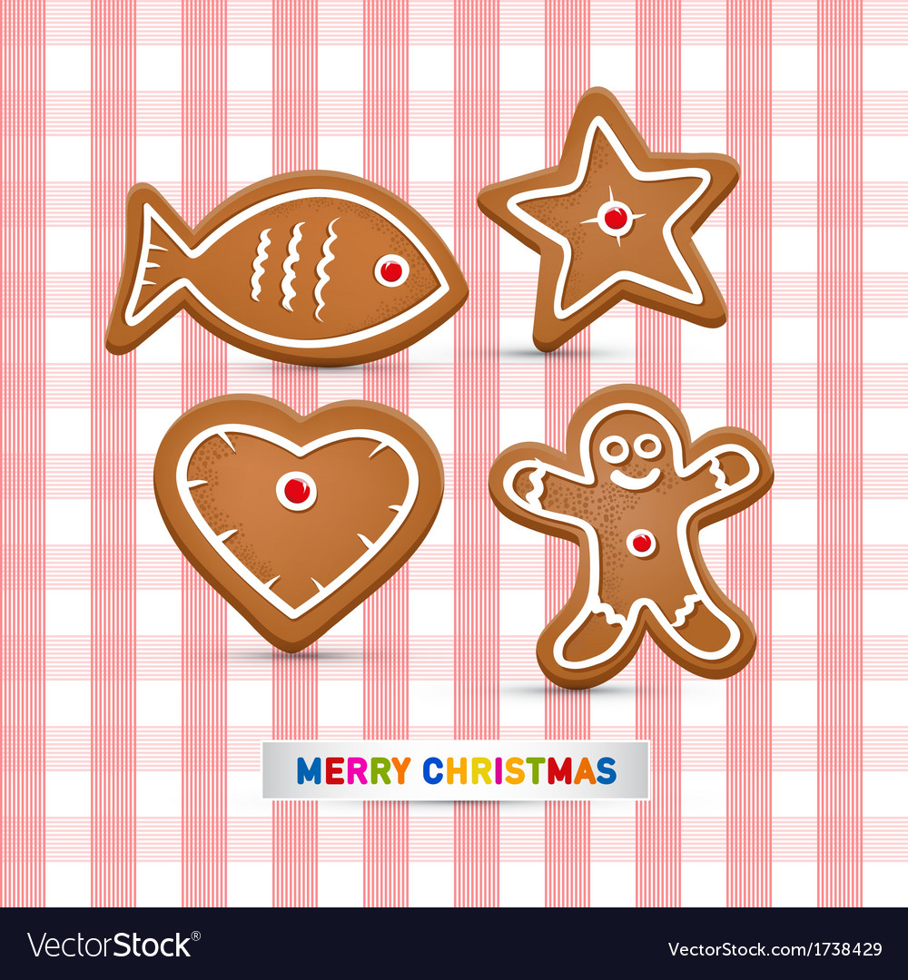 Abstract merry christmas background gingerbread vector | Price: 1 Credit (USD $1)