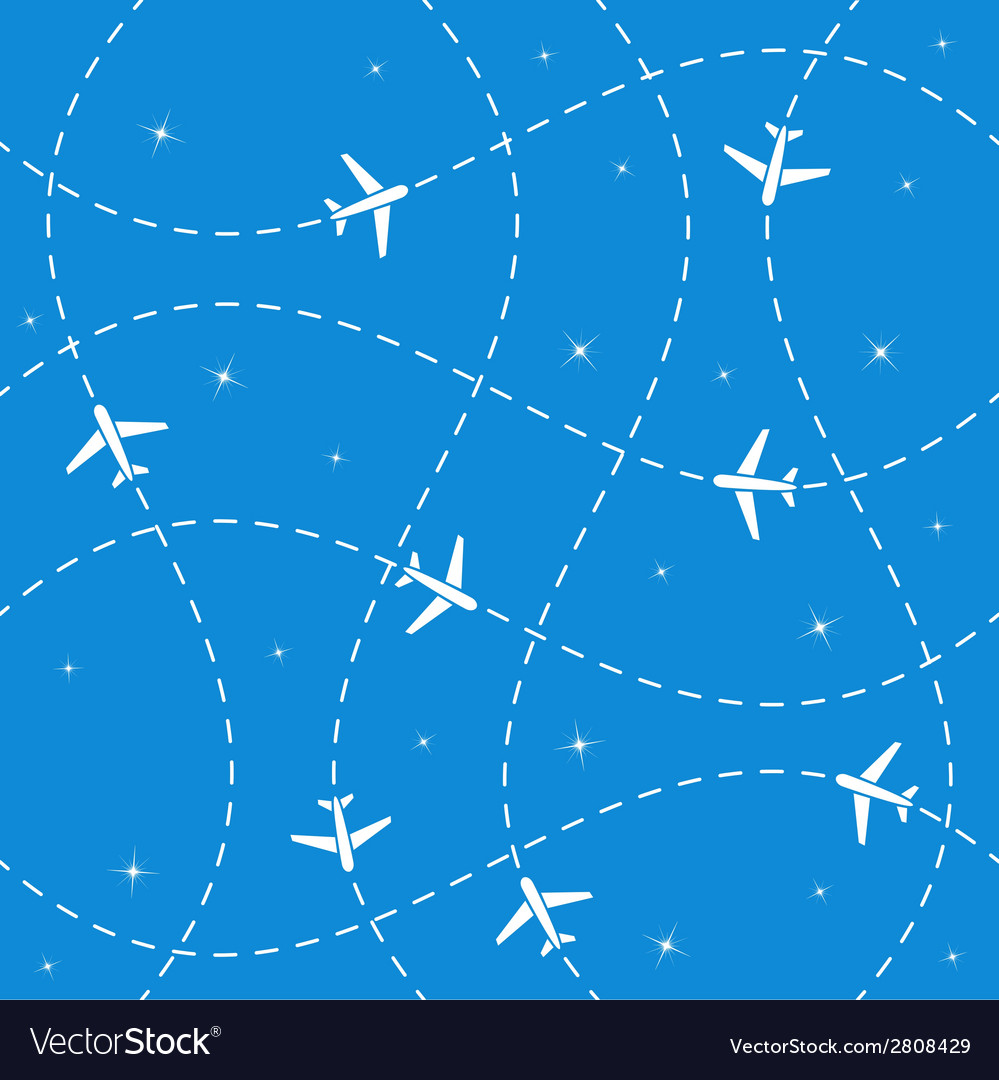 Airplane routes and stars seamless vector | Price: 1 Credit (USD $1)