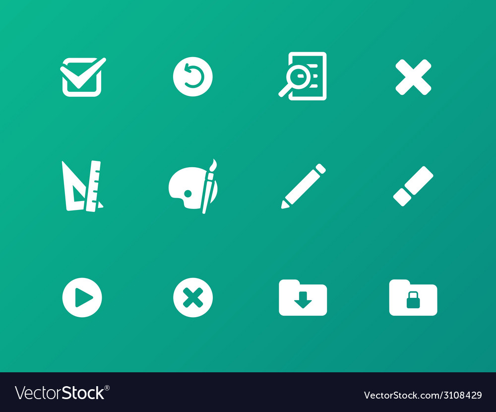Application interface icons on green background vector | Price: 1 Credit (USD $1)