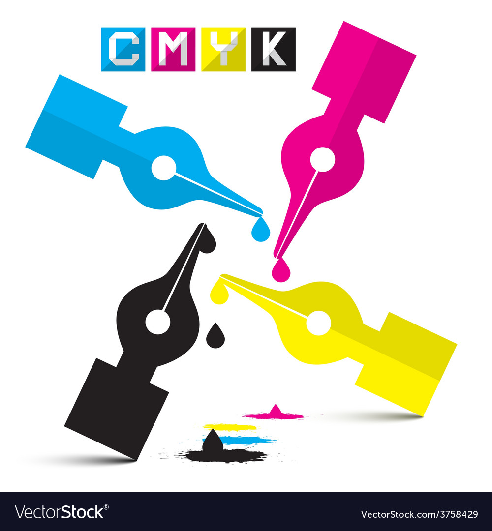 Cmyk pen symbols isolated on white vector | Price: 1 Credit (USD $1)