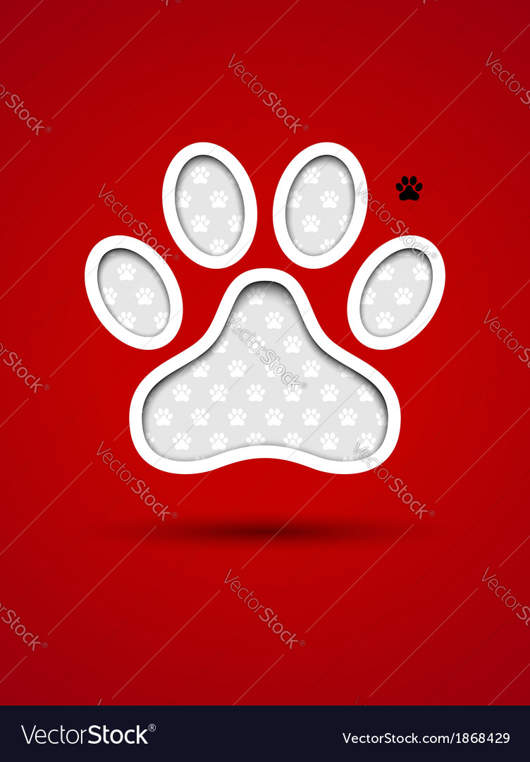 Cut out red card with animal footprint vector | Price: 1 Credit (USD $1)