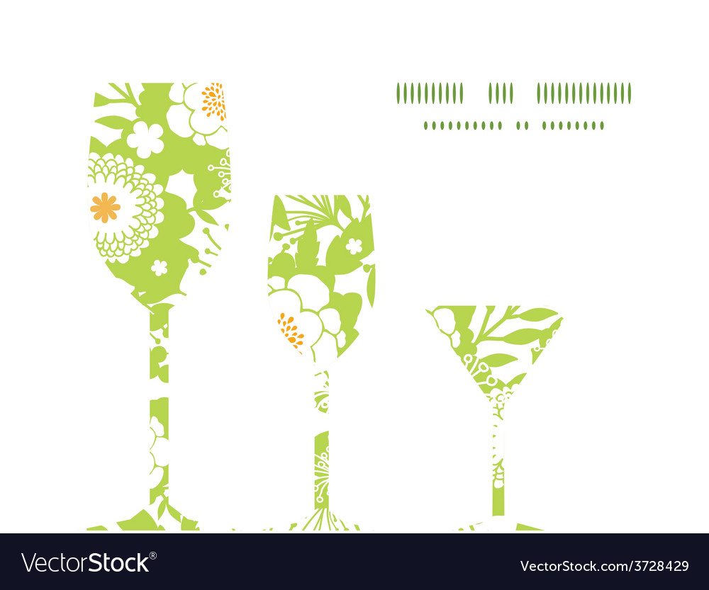 Green and golden garden silhouettes three vector | Price: 1 Credit (USD $1)
