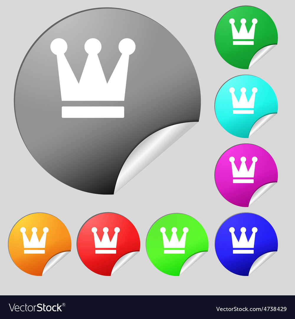 King crown icon sign set of eight multi-colored vector | Price: 1 Credit (USD $1)