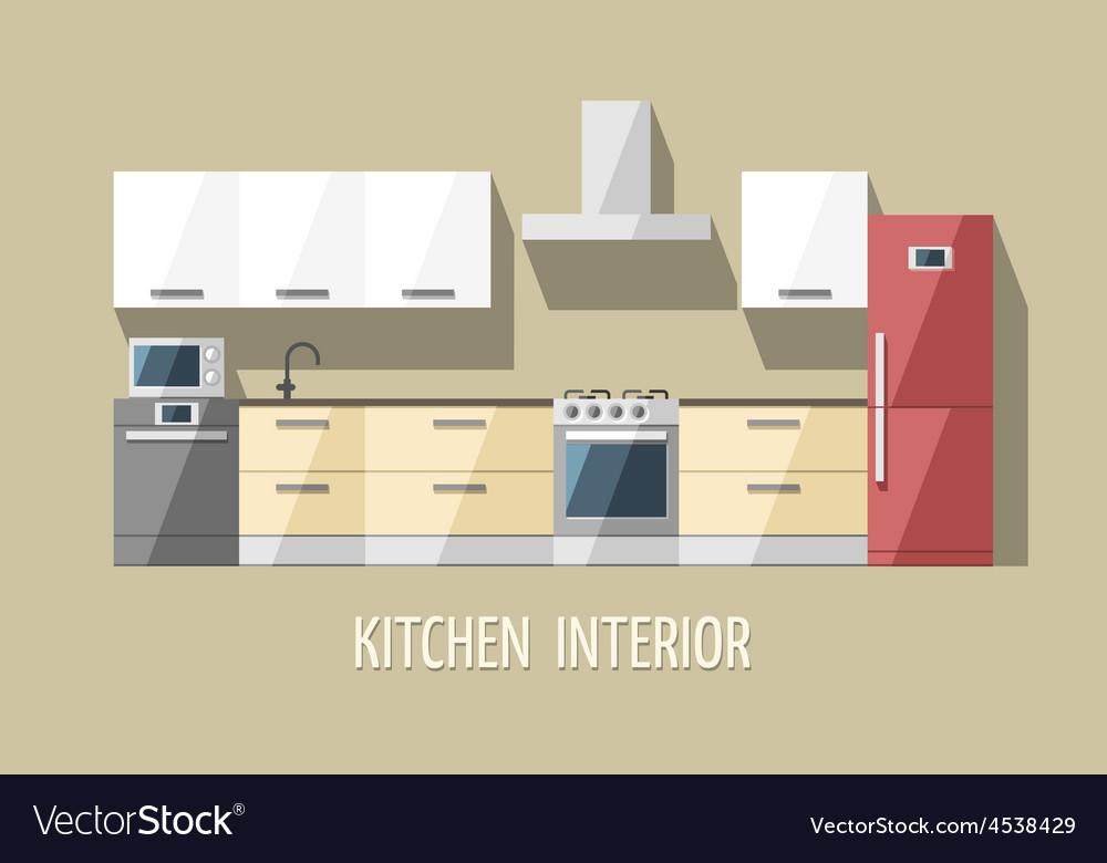 Kitchen furniture modern trendy design vector | Price: 3 Credit (USD $3)