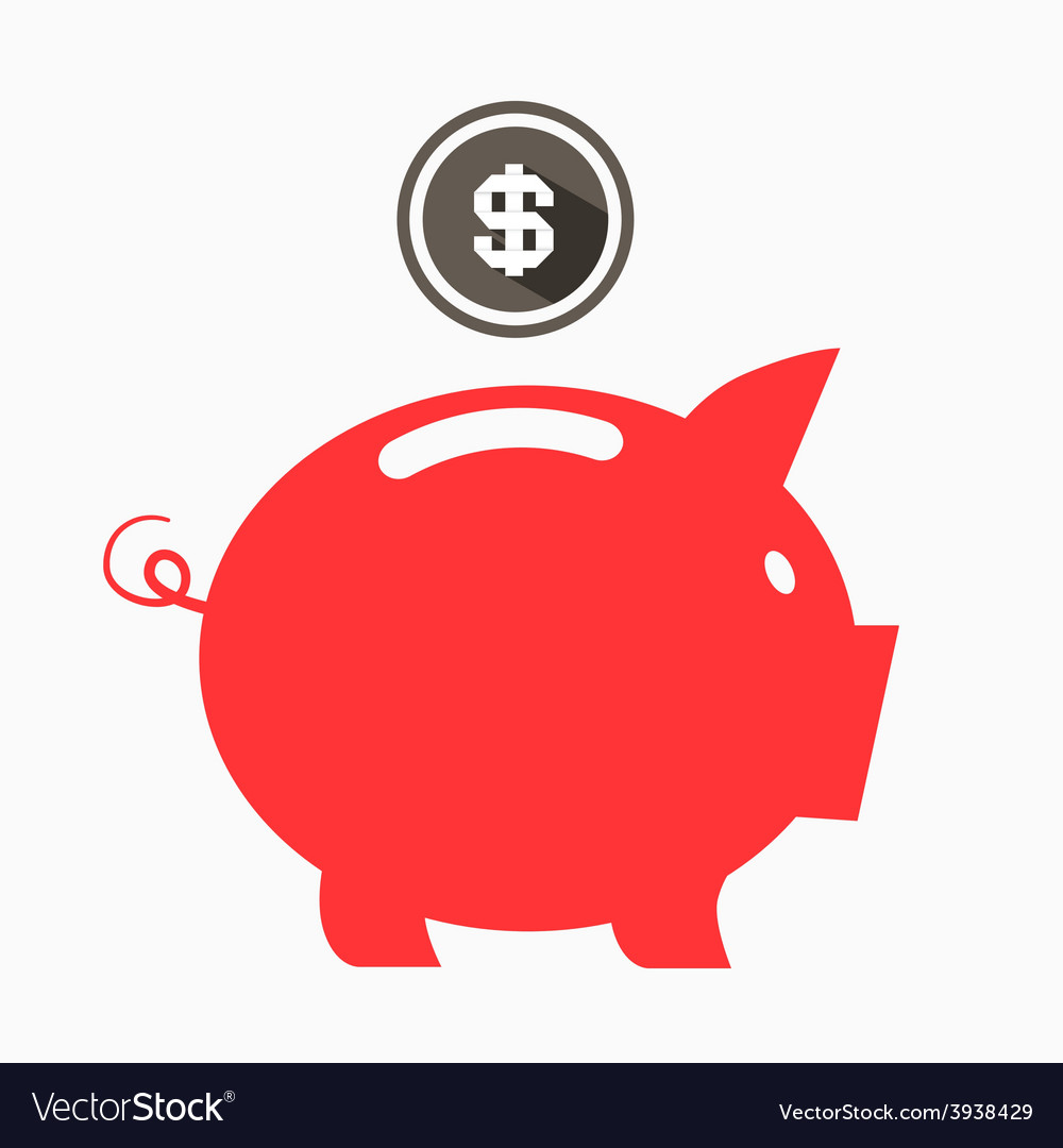 Money red pig bank with dollar coin vector | Price: 1 Credit (USD $1)