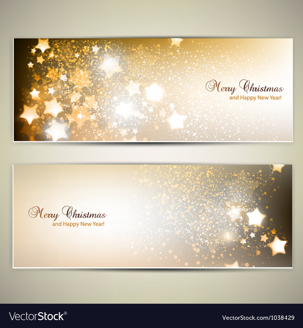 Set of elegant christmas banners with stars vector | Price: 1 Credit (USD $1)