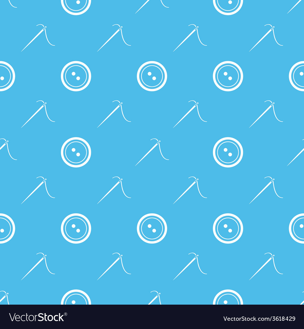 Sewing needle and buttons minimal seamless pattern vector | Price: 1 Credit (USD $1)