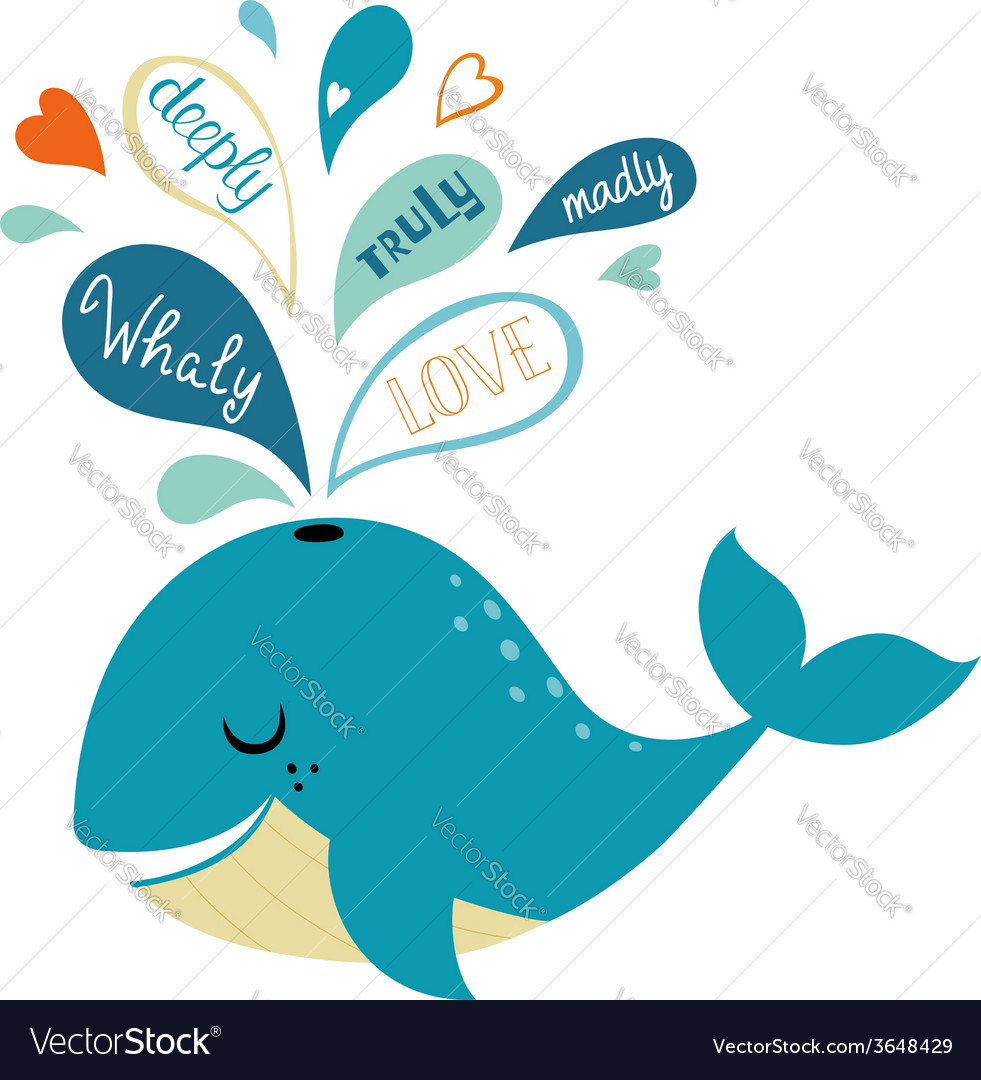 Whale in love vector | Price: 1 Credit (USD $1)