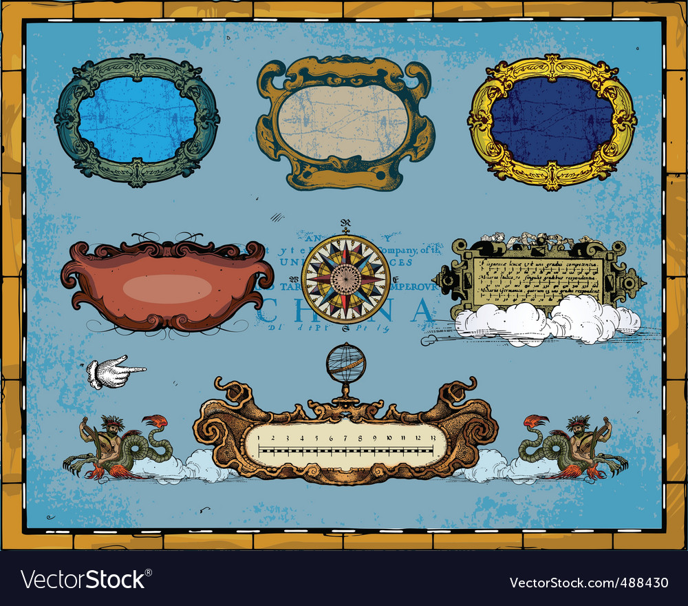 Antique map frame decorations vector | Price: 3 Credit (USD $3)