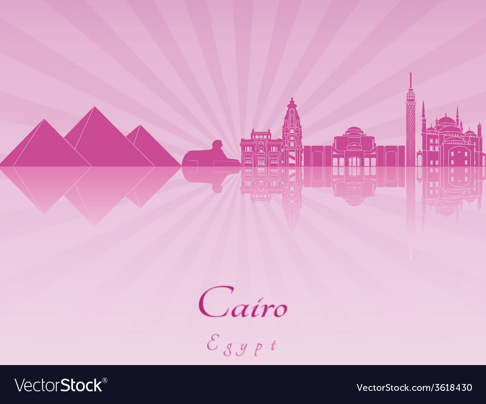 Cairo skyline in purple radiant orchid vector | Price: 1 Credit (USD $1)