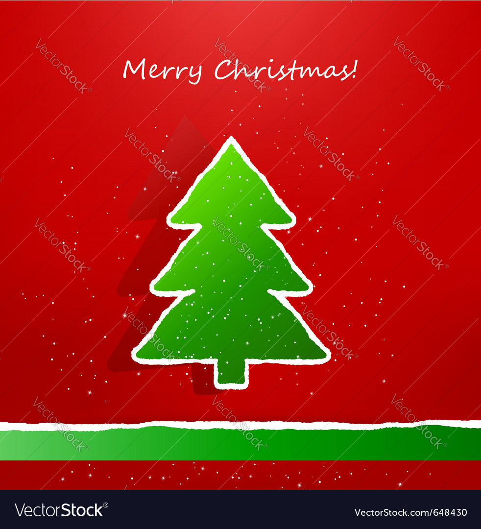 Christmas card with ripped paper tree vector | Price: 1 Credit (USD $1)