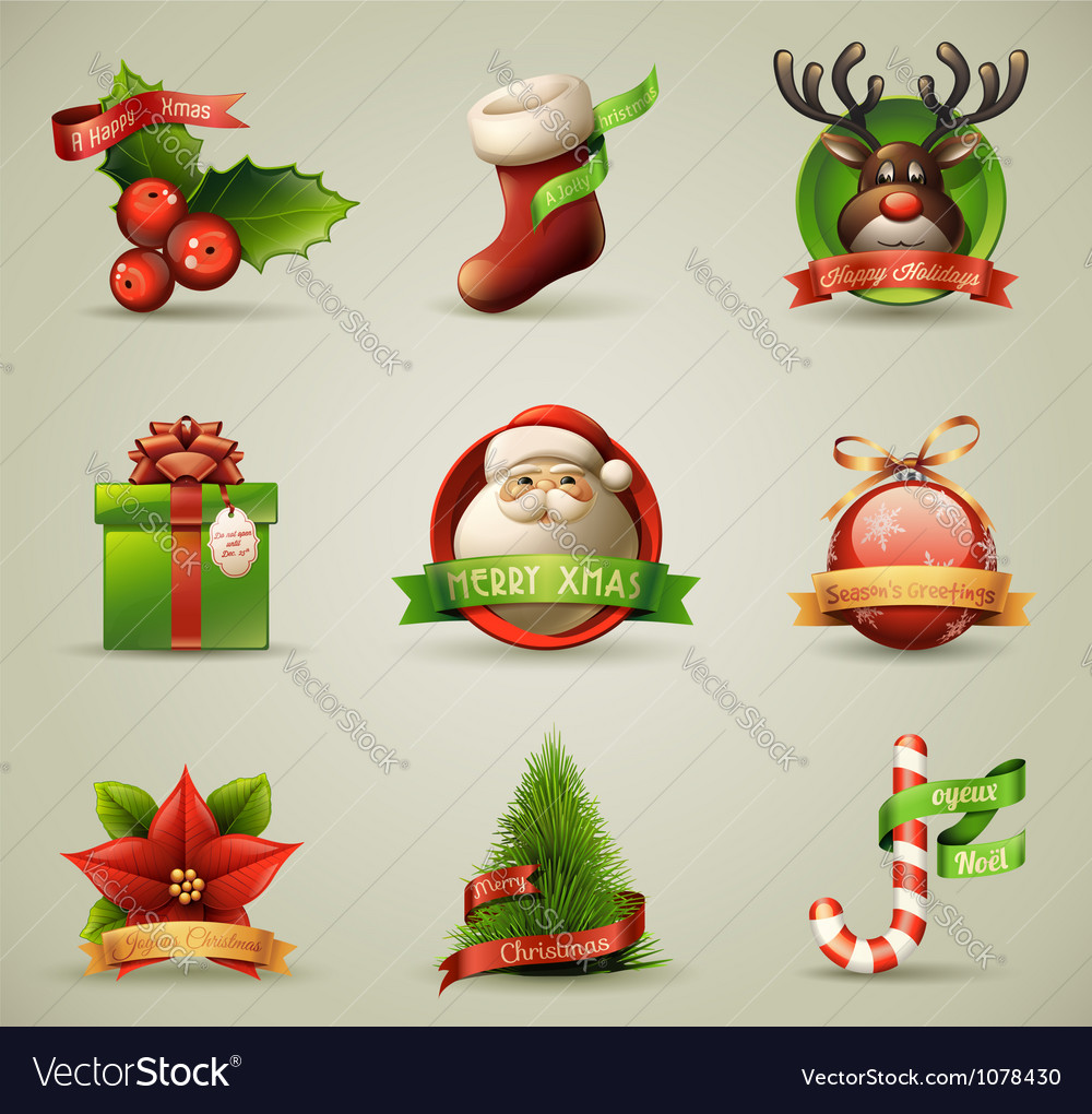 Christmas icons objects collection vector | Price: 5 Credit (USD $5)