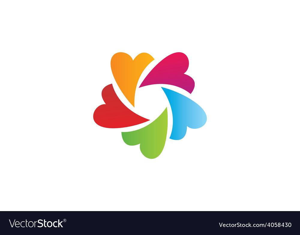 Circular heart love color logo vector | Price: 1 Credit (USD $1)