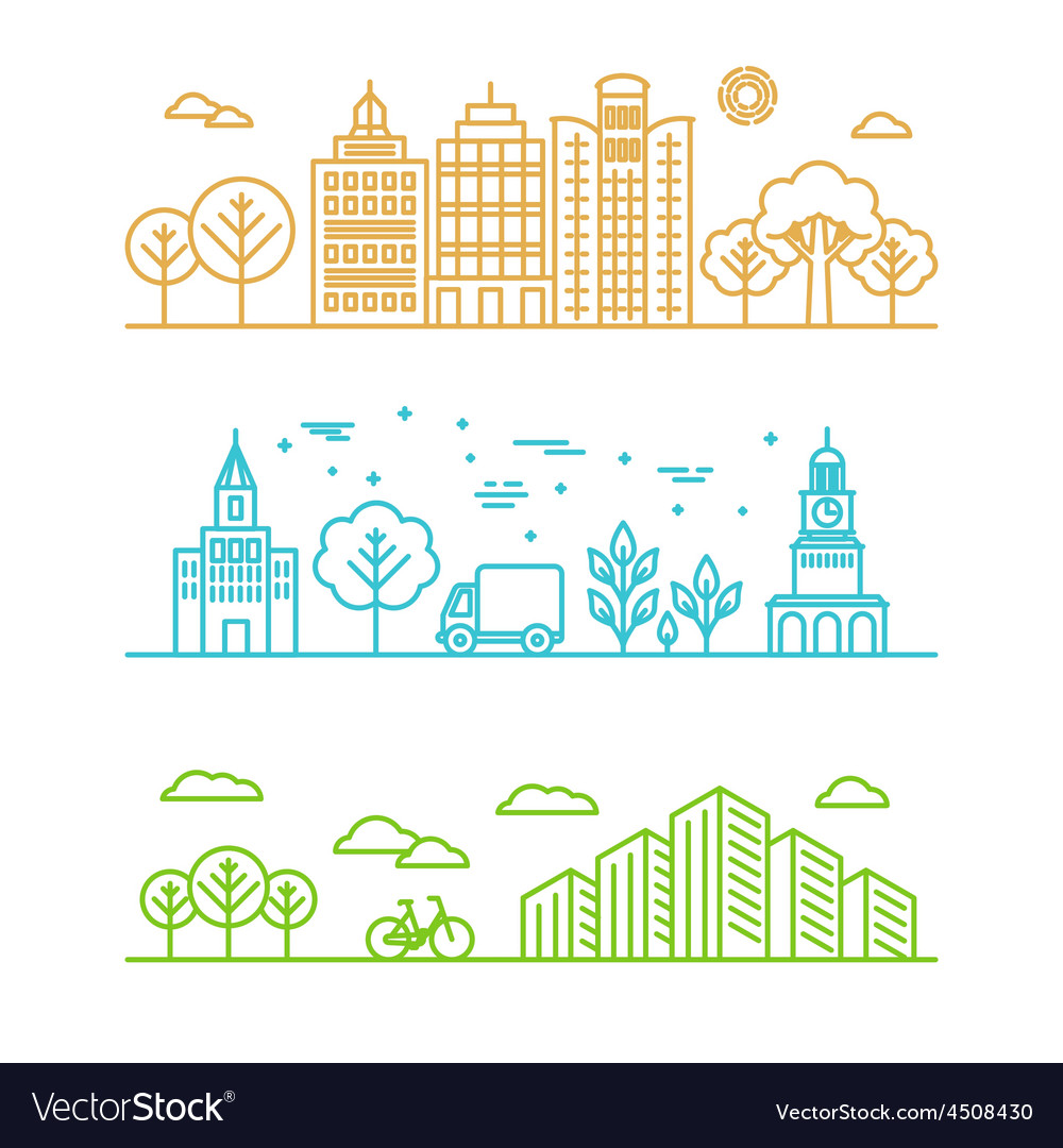 City in linear style vector | Price: 1 Credit (USD $1)