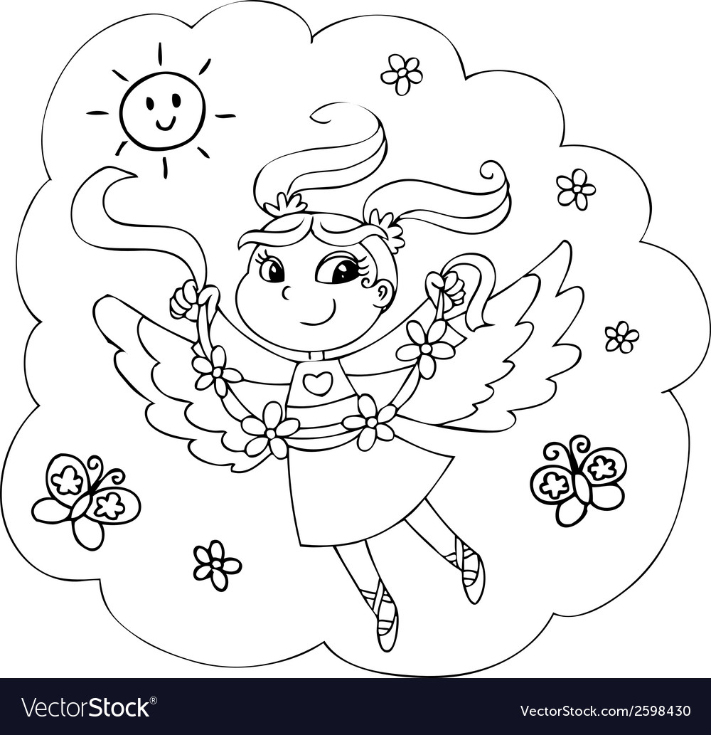 Coloring flying fairy lady vector | Price: 1 Credit (USD $1)