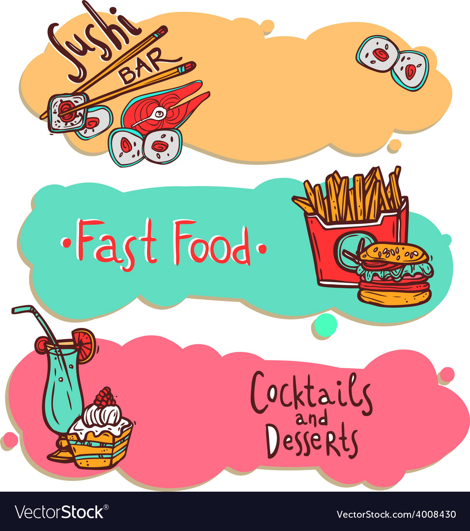 Fast food restaurant banners set vector | Price: 1 Credit (USD $1)