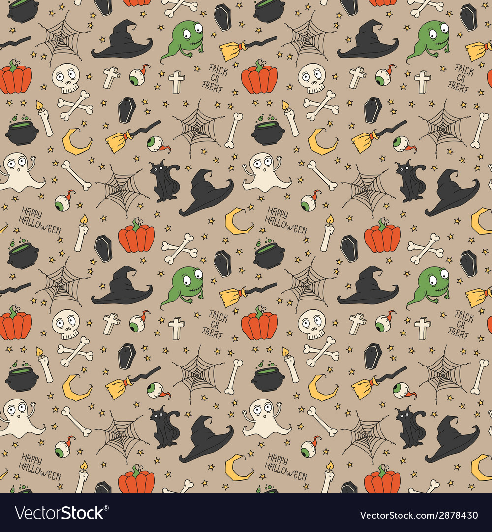 Happy halloween seamless pattern with pumpkins vector | Price: 1 Credit (USD $1)