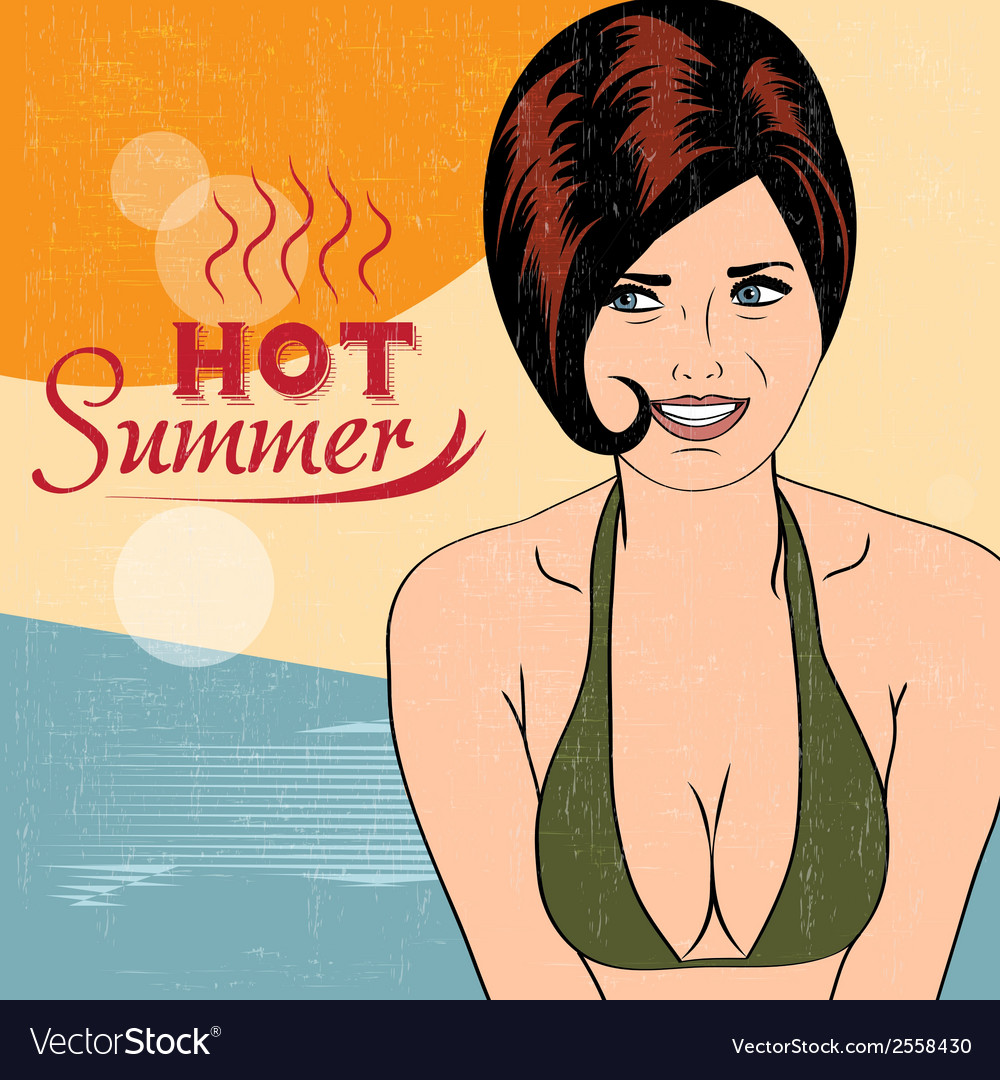 Hot pop art girl on a beach vector | Price: 1 Credit (USD $1)