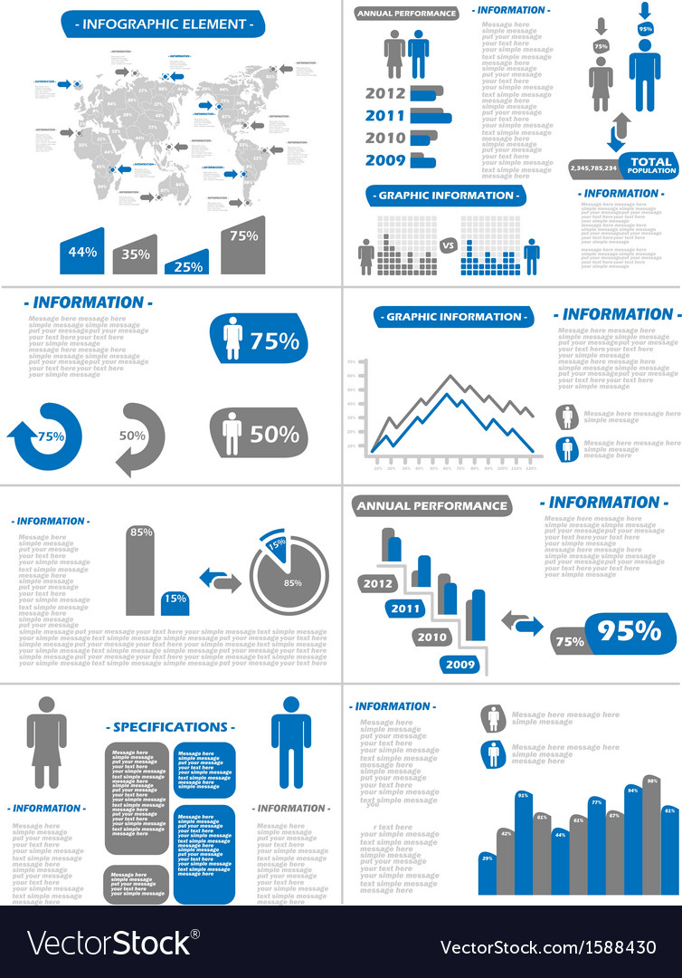 Infographic demographics new style blue vector | Price: 1 Credit (USD $1)