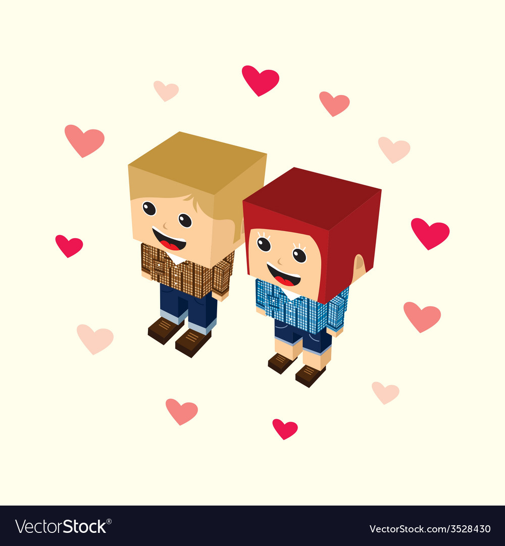 Love couple block isometric cartoon character vector | Price: 1 Credit (USD $1)