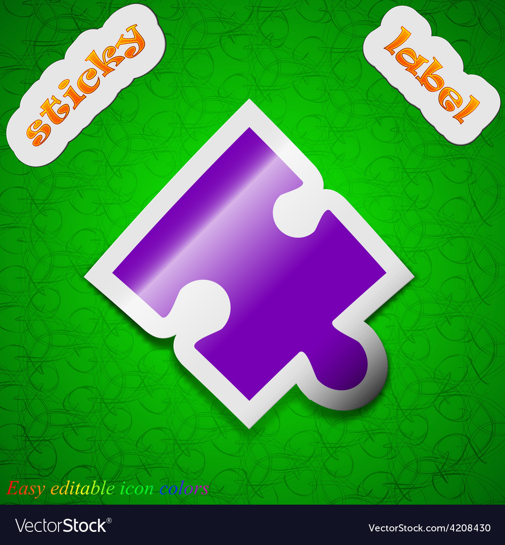 Puzzle piece icon sign symbol chic colored sticky vector | Price: 1 Credit (USD $1)
