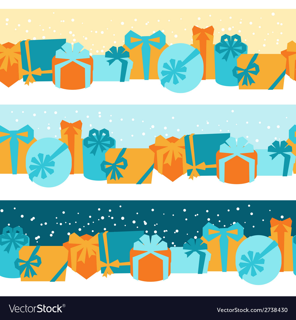 Seamless celebration borders with colorful gift vector | Price: 1 Credit (USD $1)