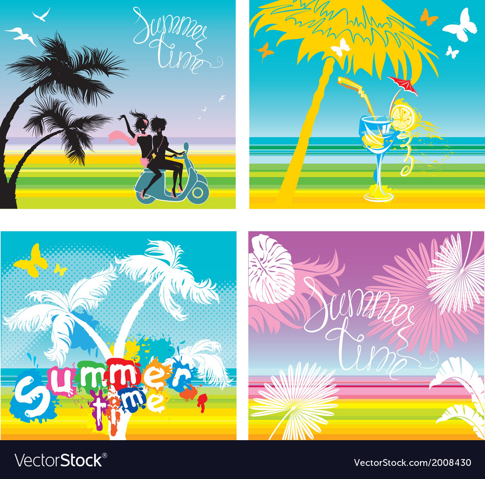 Set of summer travel and vacations pictures vector