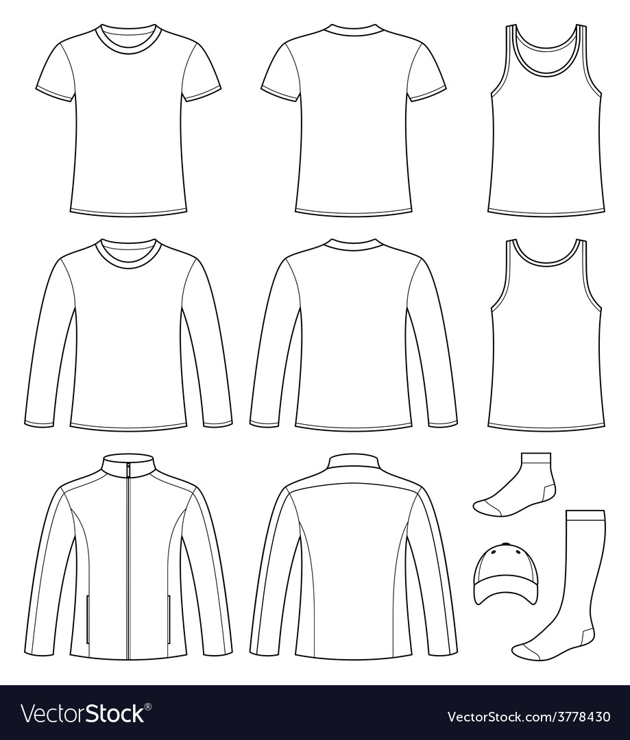 Singlet t-shirt long-sleeved t-shirt jacket socks vector | Price: 1 Credit (USD $1)