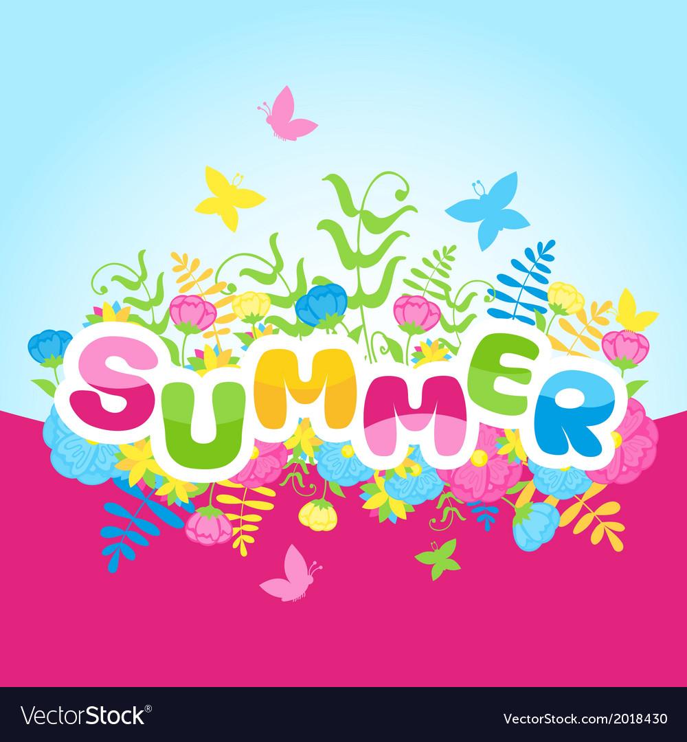 Summer inscription of colored letters with flowers vector | Price: 1 Credit (USD $1)