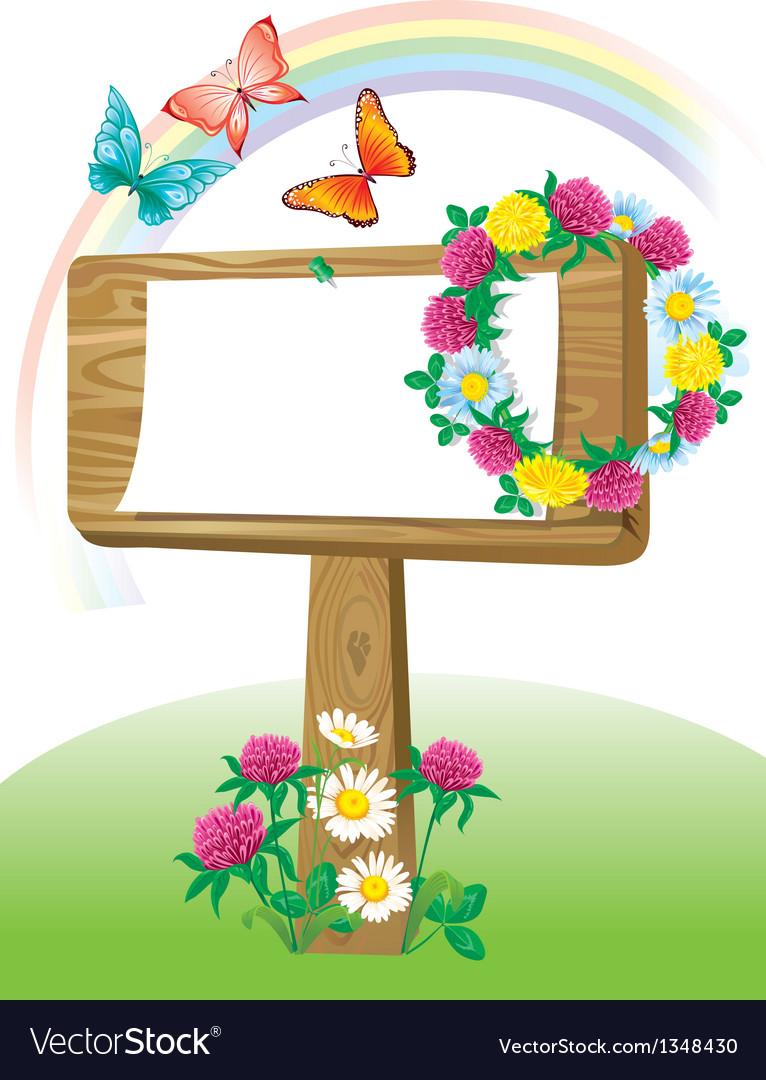 Summer wooden notice board vector | Price: 1 Credit (USD $1)