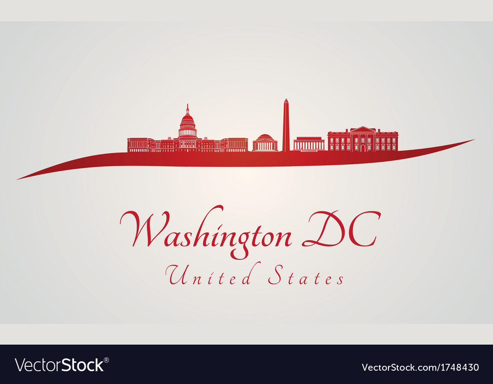 Washington dc skyline in red and gray background vector | Price: 1 Credit (USD $1)