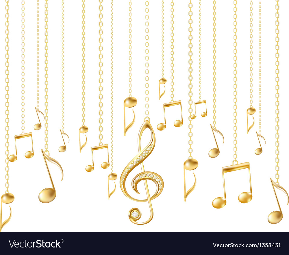 Card with musical notes and golden treble clef vector | Price: 1 Credit (USD $1)