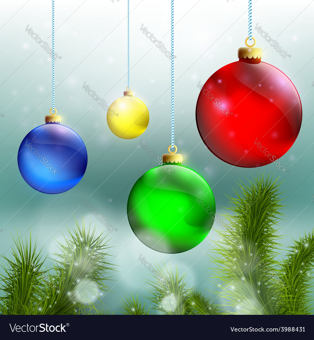 Christmas balls and christmas tree on a background vector | Price: 1 Credit (USD $1)