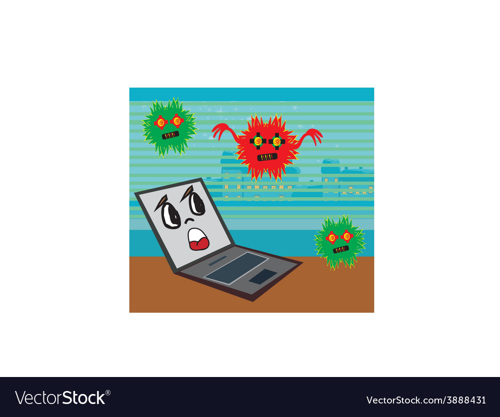Computer virus attacking laptop vector | Price: 1 Credit (USD $1)