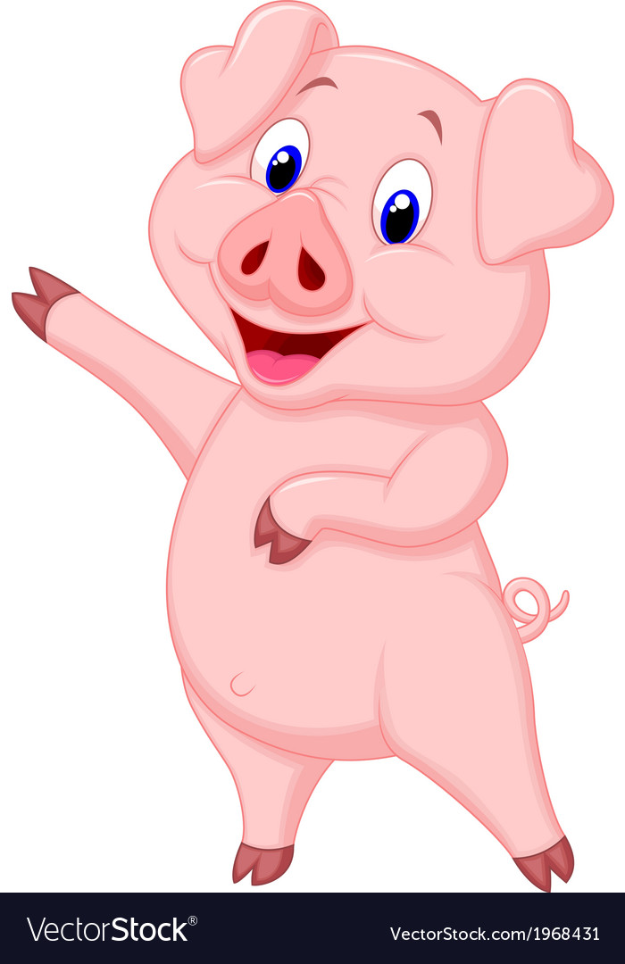 Cute pig cartoon presenting vector | Price: 1 Credit (USD $1)