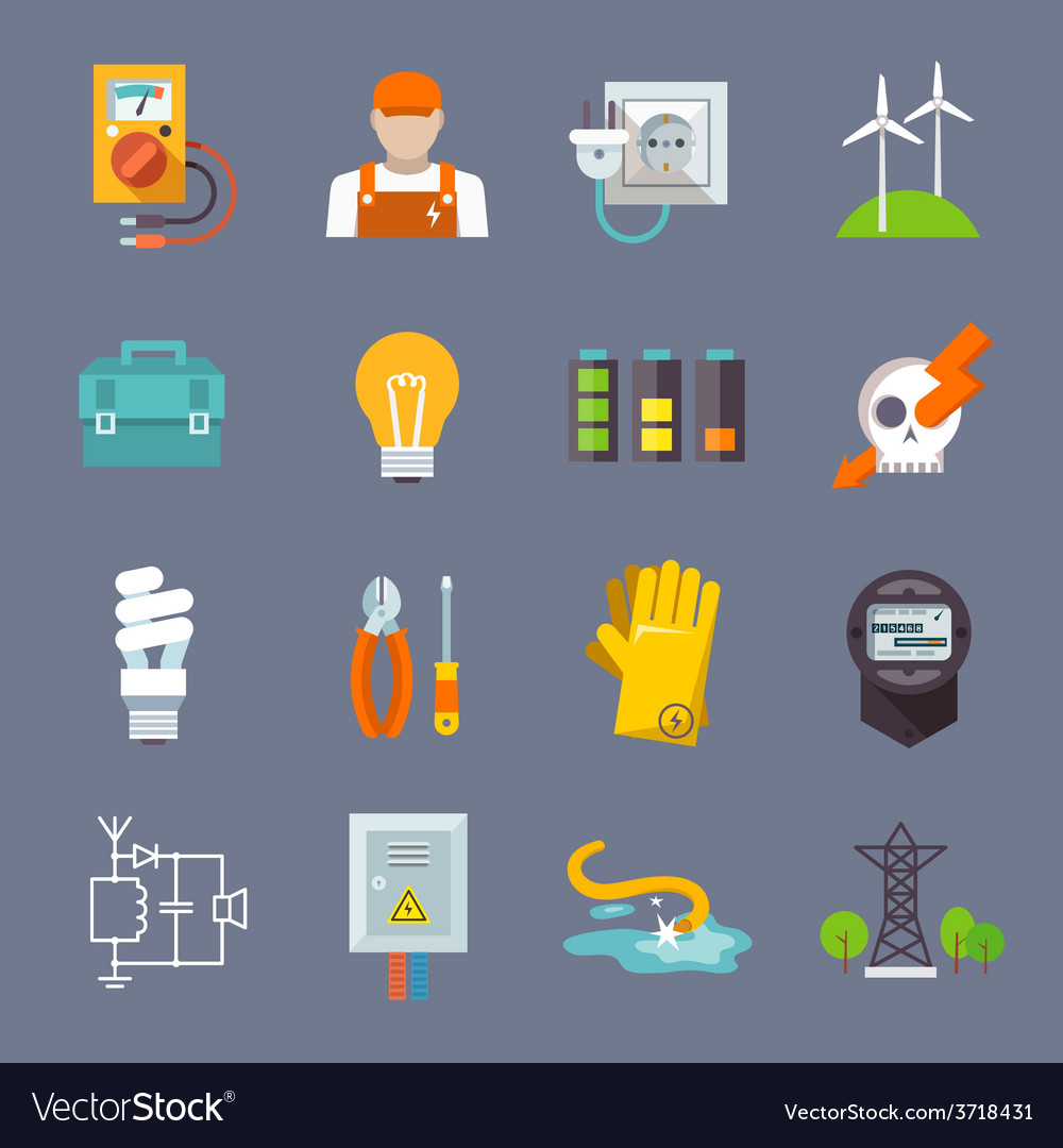 Electricity icon flat vector | Price: 1 Credit (USD $1)