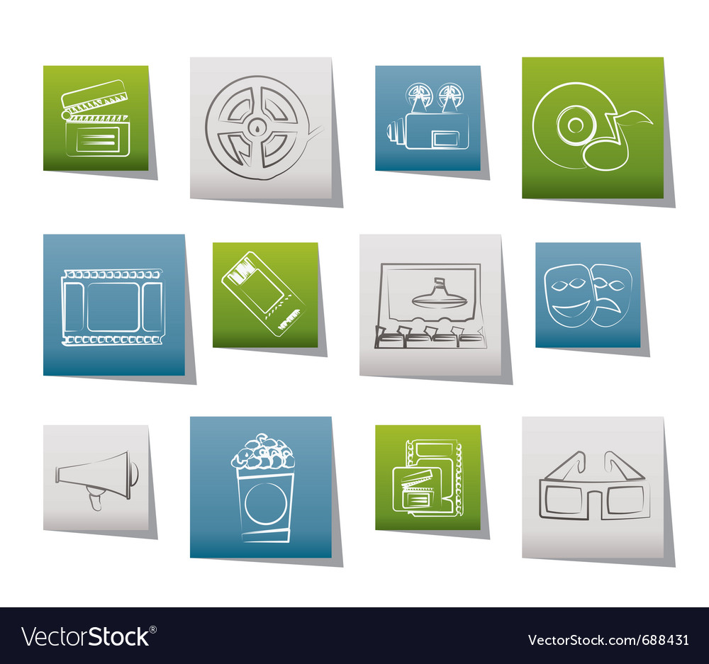 Movie theatre and cinema icons vector | Price: 1 Credit (USD $1)