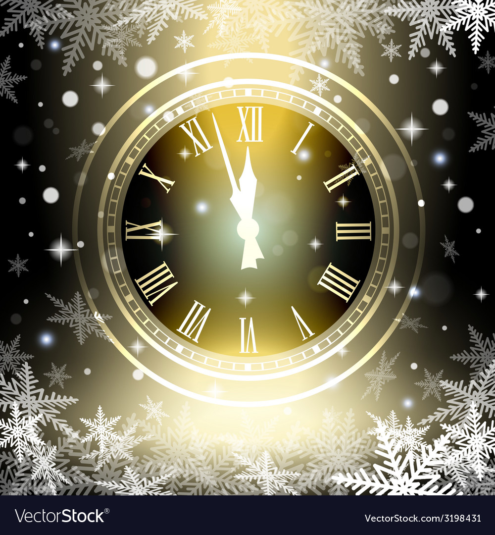 Old clock holiday lights at new year midnight vector | Price: 1 Credit (USD $1)