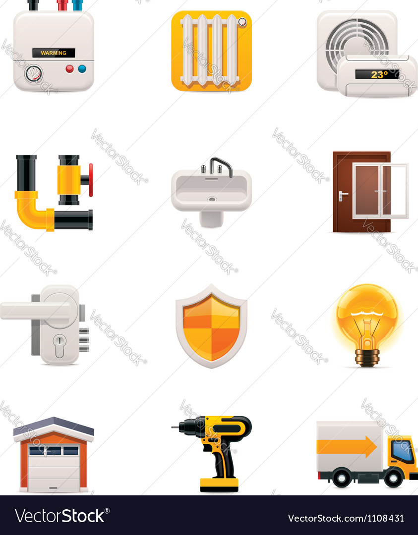 Part two of house renovation icon set vector | Price: 3 Credit (USD $3)