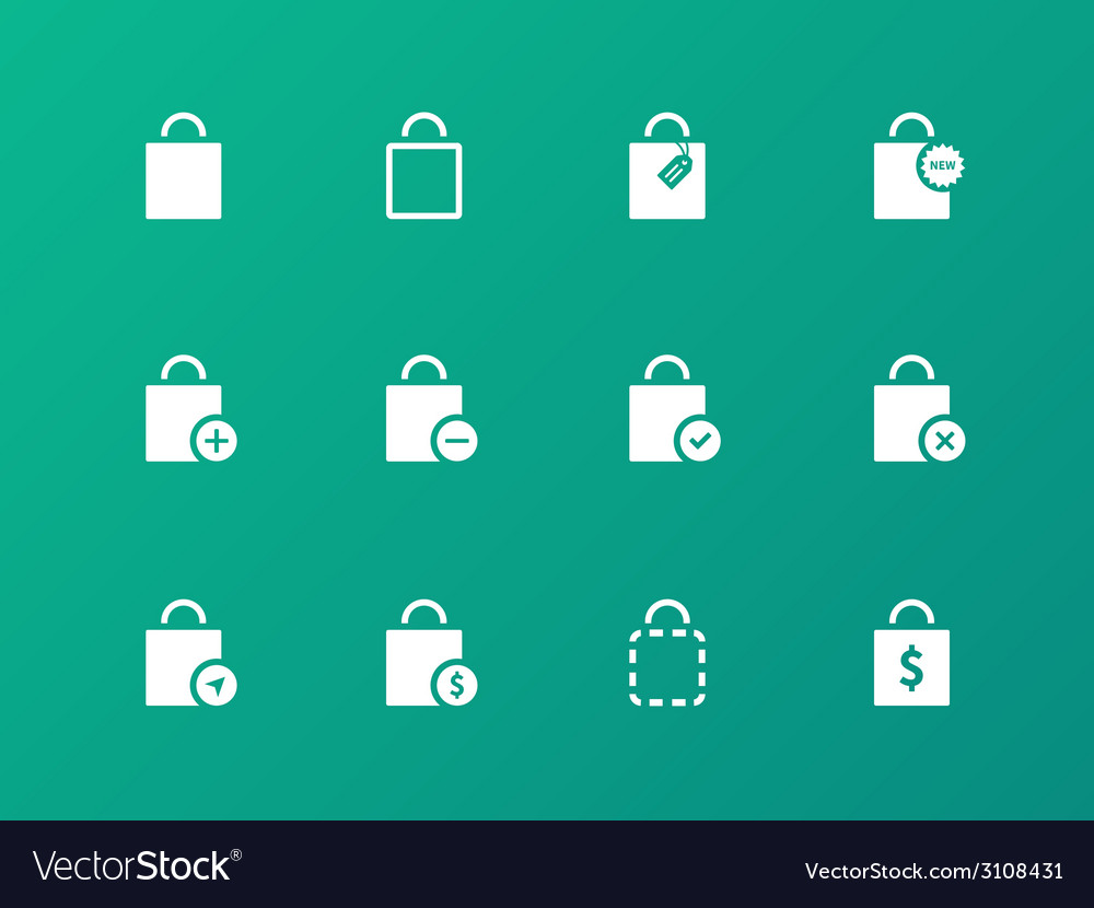 Shopping bag icons on green background vector   Price: 1 Credit (USD $1)