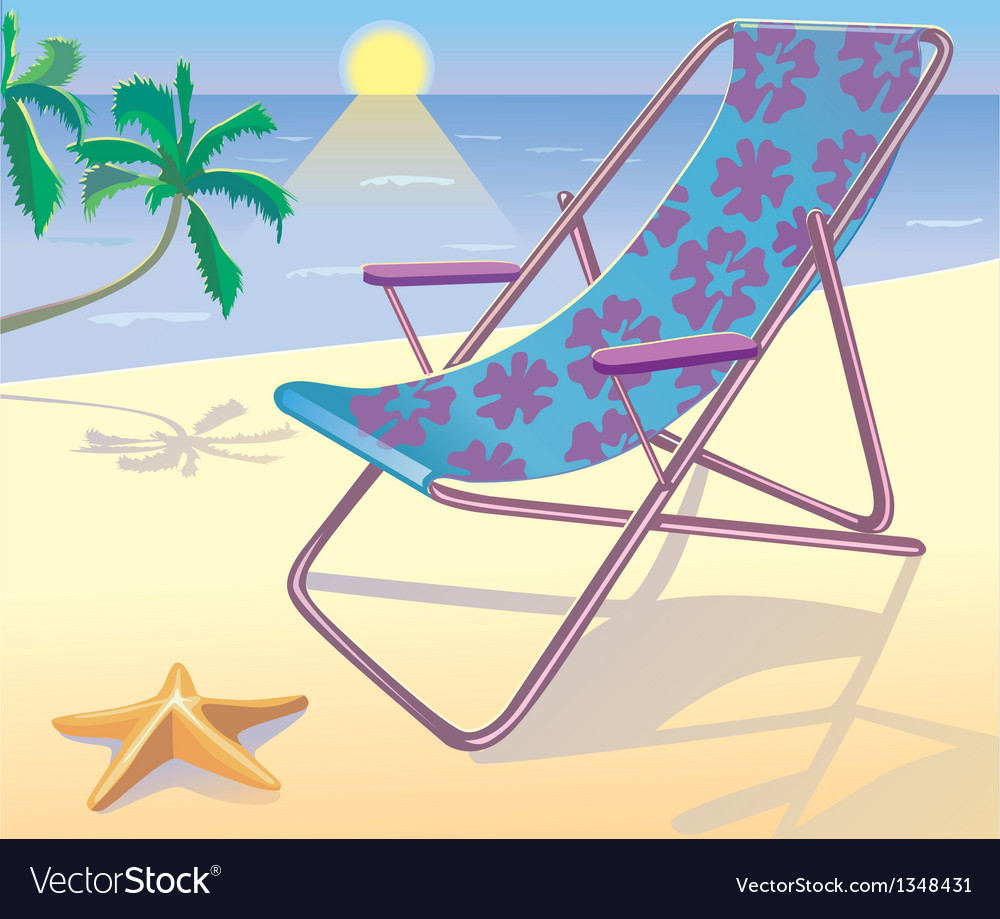 Sunbed on the beach vector | Price: 1 Credit (USD $1)