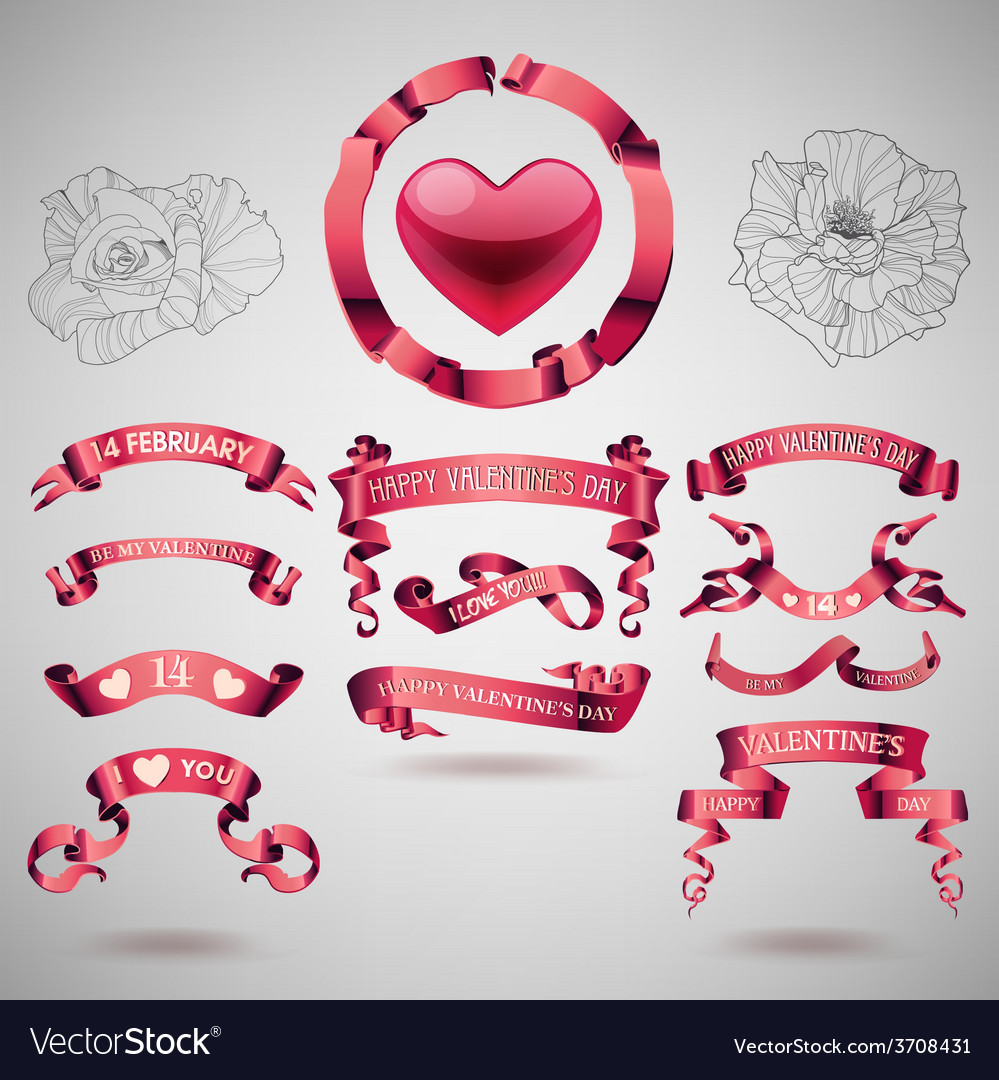 Valentines day banners and ribbons vector | Price: 1 Credit (USD $1)