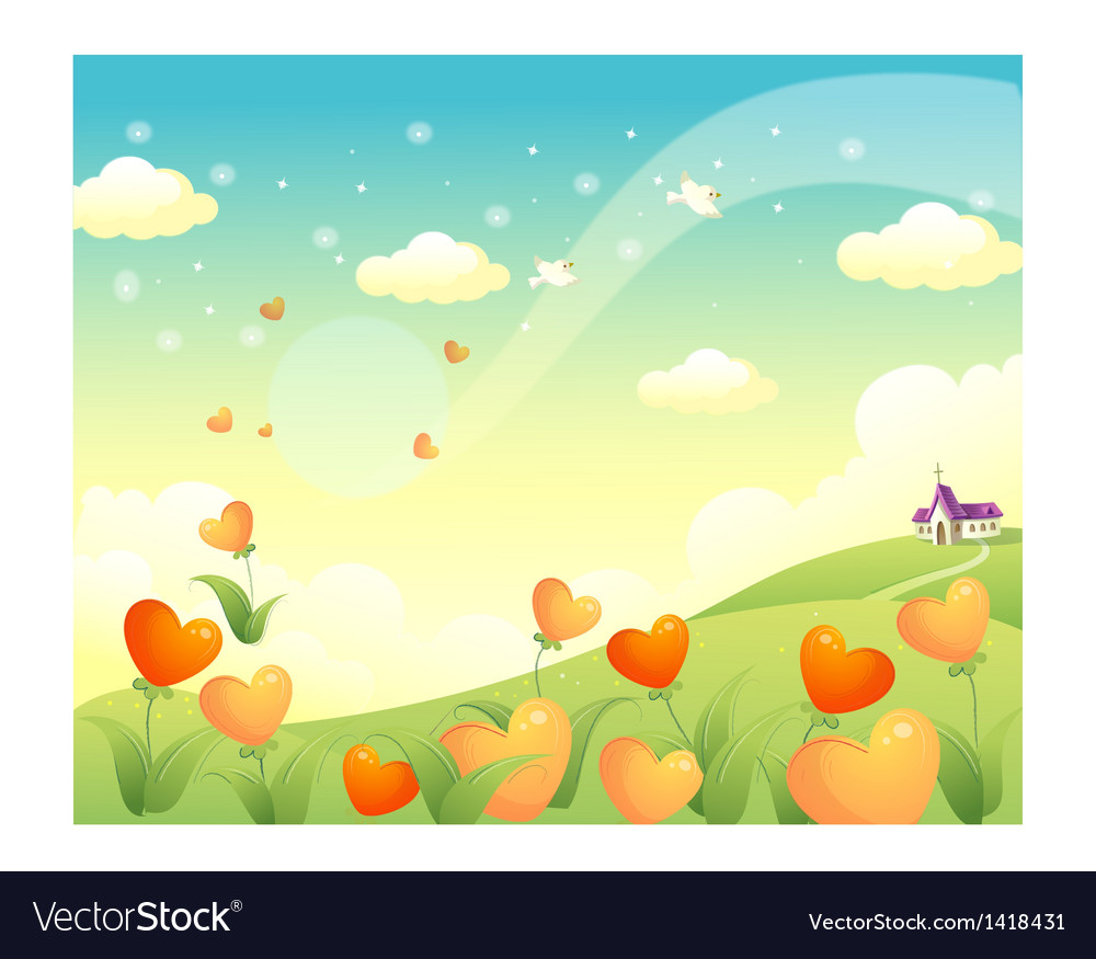 Village landscape scene vector | Price: 1 Credit (USD $1)