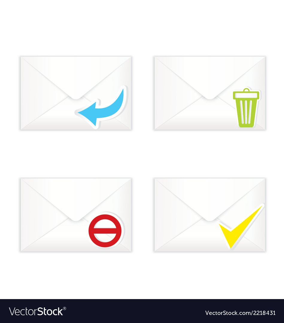 White closed envelopes with trash mark icon set vector | Price: 1 Credit (USD $1)