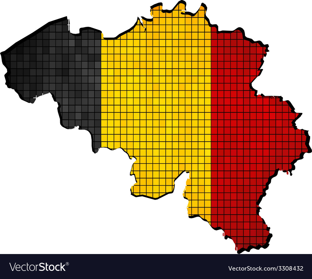 Belgium map with flag inside vector | Price: 1 Credit (USD $1)