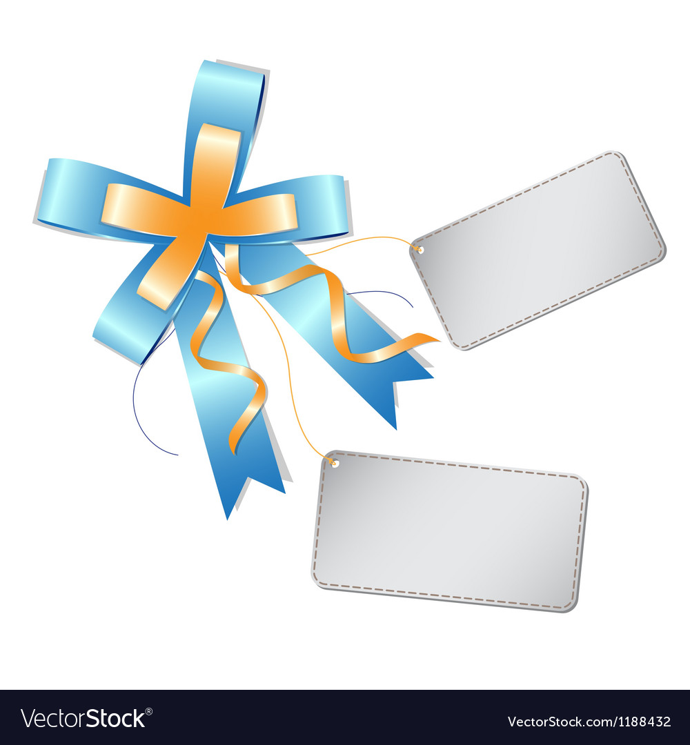 Blue ribbon bow and label vector | Price: 1 Credit (USD $1)